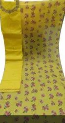 46inch Ladies Yellow Printed Cotton Dress Material