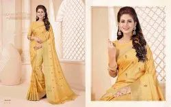 Silk India Yellow Designer Sarees, With blouse piece, 5.5 m (separate blouse piece)
