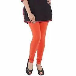 Cotton Spandex Red Ladies Plain Churidar Leggings, Size: Medium