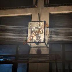 Brass and Glass Antique European Wall Lamp, For Home, 90Watt