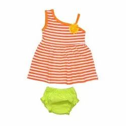 Sleeveless Shoulder Cut Frock with Panty Set For Baby Girls