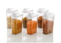 750 ML Easy Flow Plastic Kitchen Container Jar Set of 6