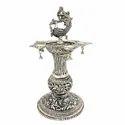 Silver Plated Metal Samai / Diya For Home Tample, Pooja Purpose & Corporate Gift