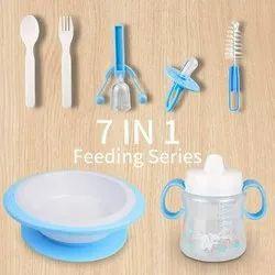 7 In 1 Baby Kit(Feeding Baby Bottle Brush Cleaner,Nipple,Sip Bottle Spoons Set,Feeding Bowl)