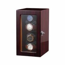 Medetai 4 watch Automatic Rotation Leather Vertical Style (Wood Storage) Display Case Box with Cover
