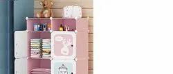 Kids Wardrobe Closet, DIY Modular Storage Organizer with Doors, Sturdy & Safe (Pink)