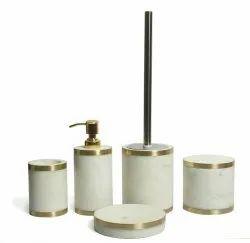Polished 5 Piece White Marble Bathroom Set
