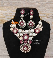 Party Bead Design Antique Designer Necklace Set, Box, Earring