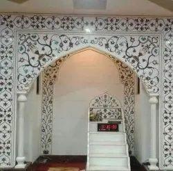 White Marble Handicraft Mehrab, Size: 5 X 6 Feet