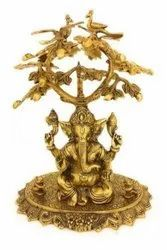 Gold Plated Metal Tree Ganesha For Home Decoration & Corporate Gift