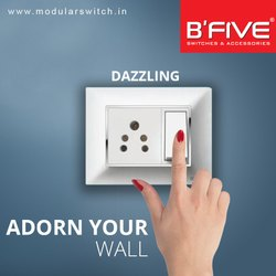 B'Five 6 Amp. Dazzling Modular Switches, For Commercial/Domestic, 220 V