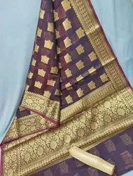 Zari Woven Coffie Banarasi Chanderi Silk Sarees, 6.40 Meter
