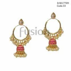Fusion Arts Meenakari Pearl Jhumka Earrings