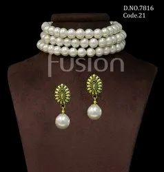 Fusion Arts Pearl Choker Necklace Set