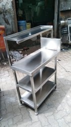 Stainless Steel Masala Table With 1 Overhead Shelf & 2 Under Shelf