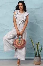Janasya Women's White Cotton Slub Jumpsuit(J0291)