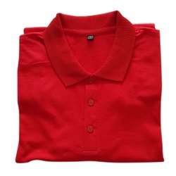 Half Sleeve Plain Mens Red Collar Neck Cotton T Shirt, Size: Medium