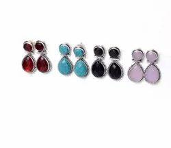 Garnet, Rose Quartz, Turquoise Gemstone Stud Earrings Jewelry