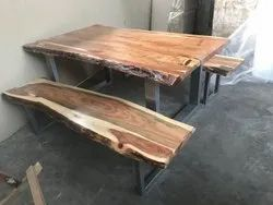 anicent Black Wooden Canteen Table, Seating Capacity: 4, Size: 150*70cm