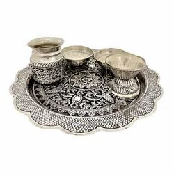 Silver Plated Pooja Thali For Pooja Purpose & Corporate Gift