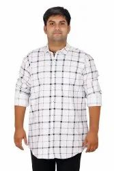 white Printed Plus Size Check Shirt (10xl.in)