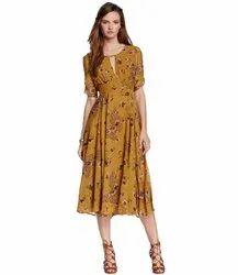 Floral Yellow Ritsila Women's Round Neck Half Sleeve Fancy Dress