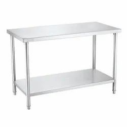 StainlessSteel Polished Ss Kitchen Working Table, For Restaurant, Number of Shelves: Double