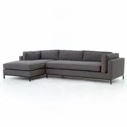 Modern L Shape Wooden Sofa, Living Room, Size: 201x88x76cm