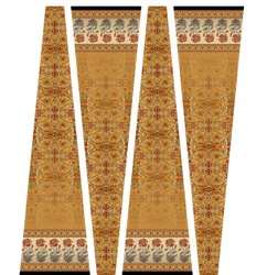 Brown Printed Cotton Kurti Fabric