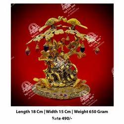 Metal Kala Golden Radha Krishna God Statue