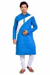 Cotton Round Neck Mens Simple Design Kurta -- Blue