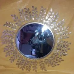 Round Silver Metal Wall Hanging Mirror, For Home