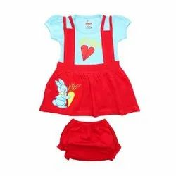 Half Sleeve Dungaree Frock With Pant