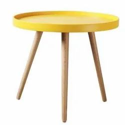Multicolor Plastic Top with Wooden Legs Activity Small Round Table, For Home, Size: 50 X 46 Cms
