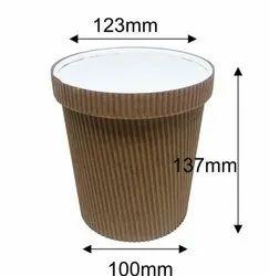 1250ml Ripple Karft Paper Tub With Lid