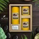 Auradecor Set Of 3 Fragrance Pillar Candles ( Vanilla )