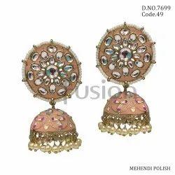 Fusion Arts Kundan Meenakari Jhumka Earrings