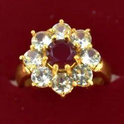 Zircon Studded Golden Color Flower Shape Ring
