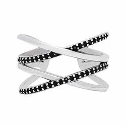 silver weave zircon studded ring