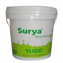 Mid Sheen Liquid 20kg Surya Xtra Shine Acrylic Wall Distemper, Packaging Type: Bucket