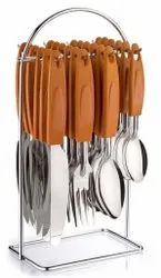 Polished Brown and Silver Regular Stainless Steel Wire Cutlery Set, Size: 13x13x26 cm