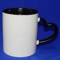 Heart Handle Inside Black Color Sublimation Mug