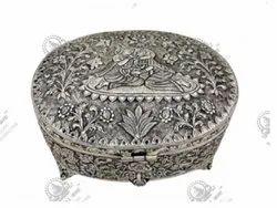 Round Radha Krishan Silver Plated Artifacts