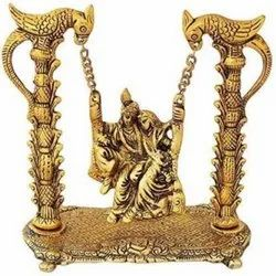 Gold Plated Radha Krishna Jhulla For Home Decor & Corporate Gift