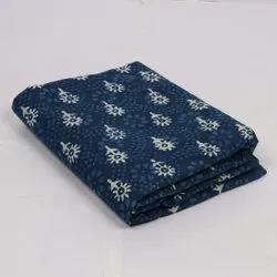 Cotton Hand Block Printed Indigo Fabric