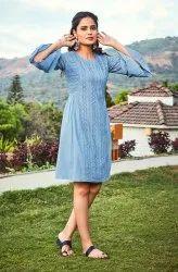 Janasya Women's Blue Cotton Tunic(J0084)