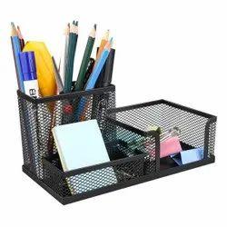 3 Compartment Metal Mesh Desk Organizer Stationary Storage Stand & Pen-Pencil Holder