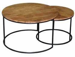 Iron And Wood Round Restaurant Table, For Home
