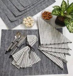 Gray Textured Cotton Dinning Mats & Napkins Set