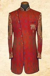 Wedding Wear Embroidered Maroon Smart Jute Silk Sherwani with Bandh-gala